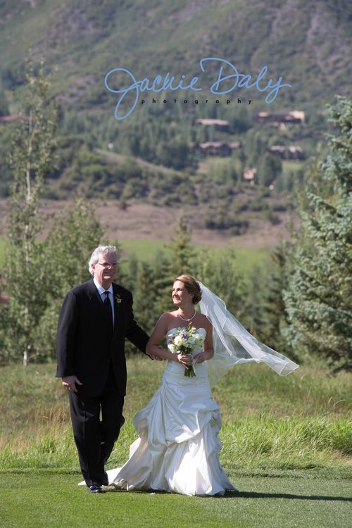 Aspen wedding photography snowmass club father walks bride down the aisle